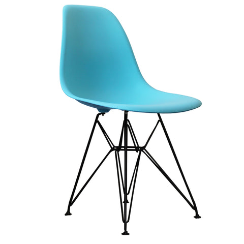 CHARLES EAMES Style Pearl Blue Plastic Retro DSR Side Chair with Black Legs - directhomeliving