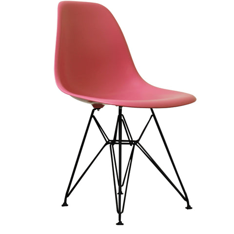 CHARLES EAMES Style Pink Plastic Retro DSR Side Chair with Black Legs - directhomeliving