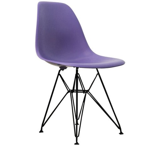 CHARLES EAMES Style Purple Plastic Retro DSR Side Chair with Black Legs - directhomeliving