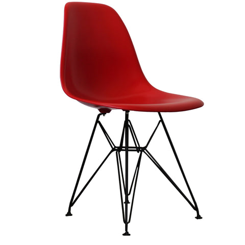 CHARLES EAMES Style Red Plastic Retro DSR Side Chair with Black Legs - directhomeliving