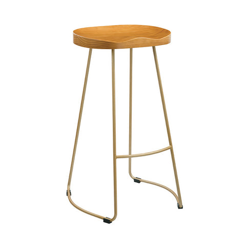 Bailey Pine Wood Gold Iron Bar Stool - directhomeliving
