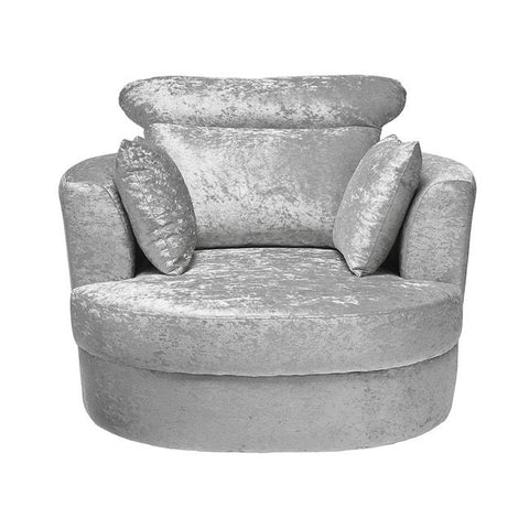 Bliss Large Silver Swivel Chair - directhomeliving