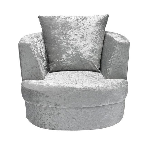 Bliss Small Silver Swivel Chair - directhomeliving