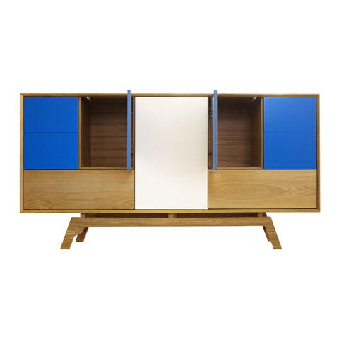 Butterfly Blue Door Oak Sideboard - directhomeliving
