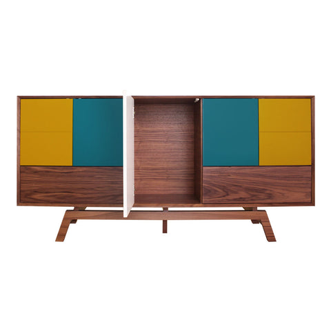 Butterfly Teal Mustard Door Walnut Sideboard - directhomeliving