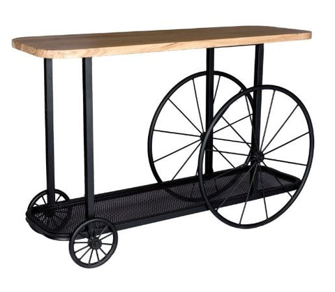 Craft Wheel Industrial Console Table - directhomeliving