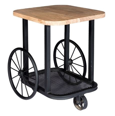 Craft Wheel Industrial End Table - directhomeliving