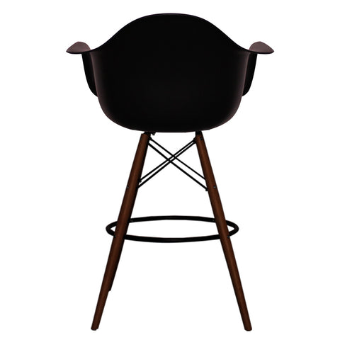 CHARLES EAMES Style Black Plastic Retro DAB Walnut Bar Stool - directhomeliving