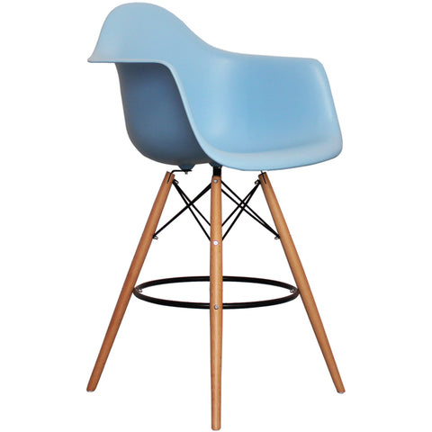 CHARLES EAMES Style Blue Plastic Retro DAB Bar Stool - directhomeliving