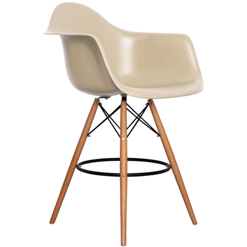 CHARLES EAMES Style Beige Plastic Retro DAB Bar Stool - directhomeliving