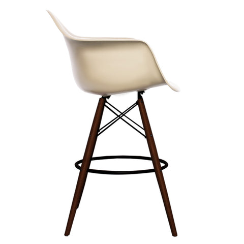 CHARLES EAMES Style Beige Plastic Retro DAB Walnut Bar Stool - directhomeliving