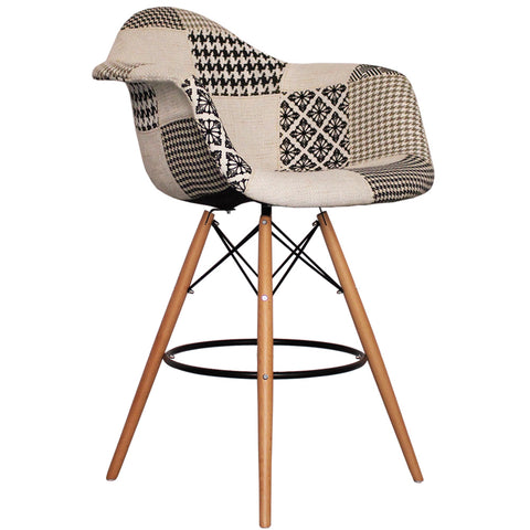 CHARLES EAMES Style Monochrome Fabric Retro DAB Bar Stool - directhomeliving