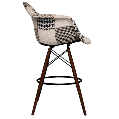 CHARLES EAMES Style Monochrome Fabric Retro DAB Walnut Bar Stool - directhomeliving