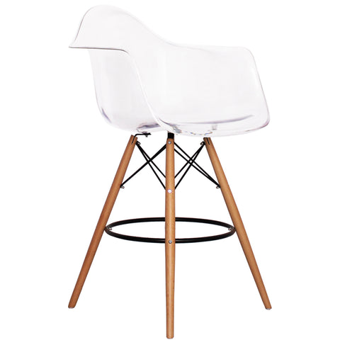 CHARLES EAMES Style Clear Plastic Retro DAB Bar Stool - directhomeliving