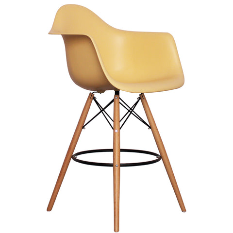 CHARLES EAMES Style Cream Plastic Retro DAB Bar Stool - directhomeliving