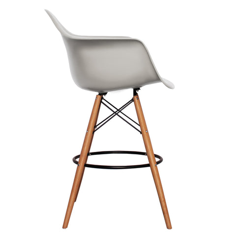 CHARLES EAMES Style Cool Grey Plastic Retro DAB Bar Stool - directhomeliving