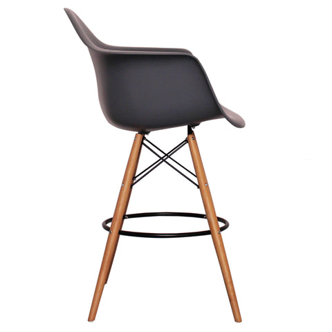 CHARLES EAMES Style Dark Grey Plastic Retro DAB Bar Stool - directhomeliving