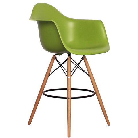 CHARLES EAMES Style Green Plastic Retro DAB Bar Stool - directhomeliving