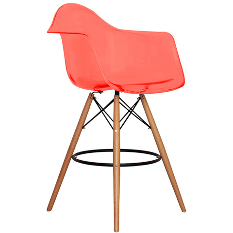 CHARLES EAMES Style Ghost Red Plastic Retro DAB Bar Stool - directhomeliving