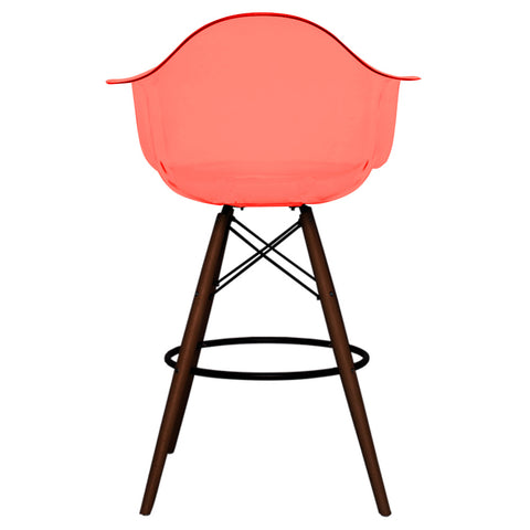 CHARLES EAMES Style Ghost Red Plastic Retro DAB Walnut Bar Stool - directhomeliving