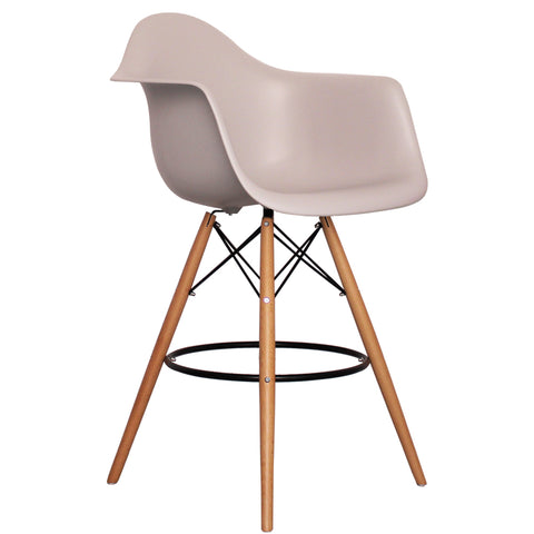 CHARLES EAMES Style Light Grey Plastic Retro DAB Bar Stool - directhomeliving