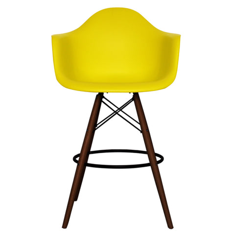 CHARLES EAMES Style Lemon Plastic Retro DAB Walnut Bar Stool - directhomeliving