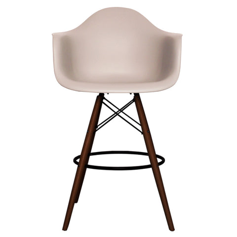 CHARLES EAMES Style Light Grey Plastic Retro DAB Walnut Bar Stool - directhomeliving