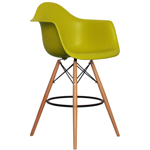 CHARLES EAMES Style Mustard Plastic Retro DAB Bar Stool - directhomeliving