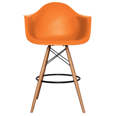 CHARLES EAMES Style New Orange Plastic Retro DAB Bar Stool - directhomeliving