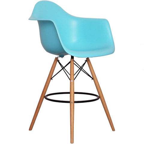CHARLES EAMES Style Pearl Blue Plastic Retro DAB Bar Stool - directhomeliving