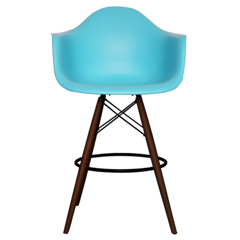 CHARLES EAMES Style Pearl Blue Plastic Retro DAB Walnut Bar Stool - directhomeliving