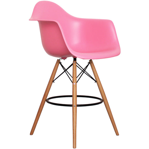 CHARLES EAMES Style Pink Plastic Retro DAB Bar Stool - directhomeliving