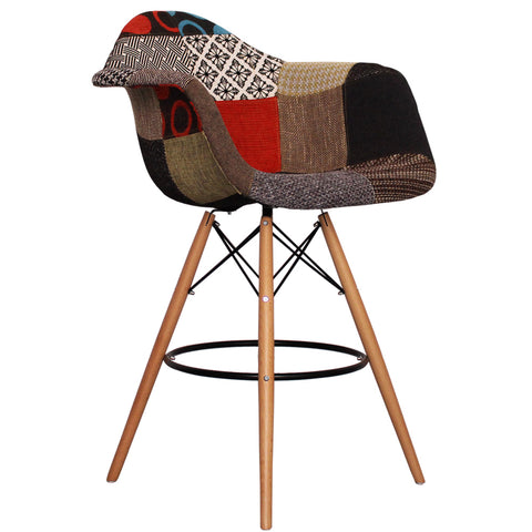CHARLES EAMES Style Patchwork Fabric Retro DAB Bar Stool - directhomeliving