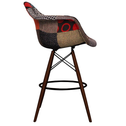 CHARLES EAMES Style Patchwork Fabric Retro DAB Walnut Bar Stool - directhomeliving