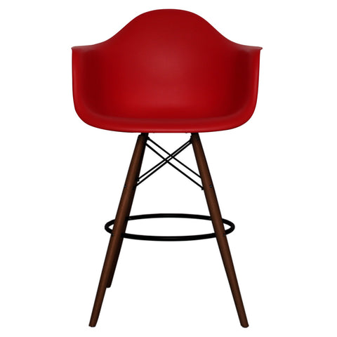CHARLES EAMES Style Red Plastic Retro DAB Walnut Bar Stool - directhomeliving