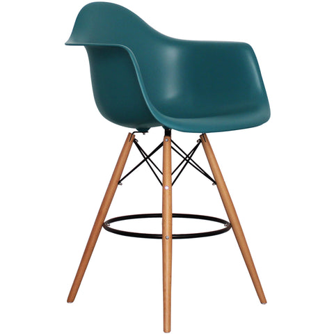 CHARLES EAMES Style Teal Plastic Retro DAB Bar Stool - directhomeliving