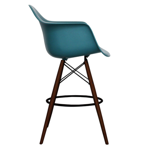 CHARLES EAMES Style Teal Plastic Retro DAB Walnut Bar Stool - directhomeliving