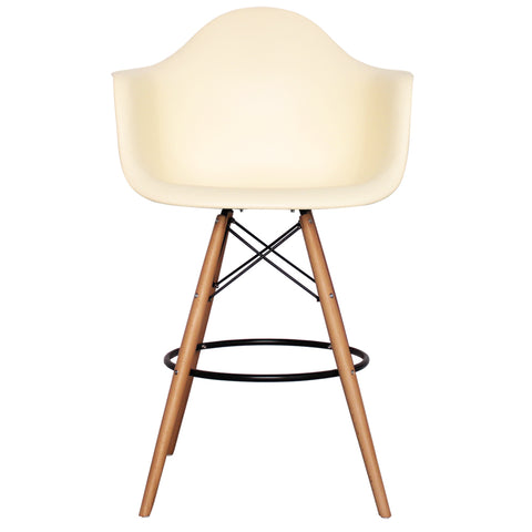 CHARLES EAMES Style Vanilla Plastic Retro DAB Bar Stool - directhomeliving