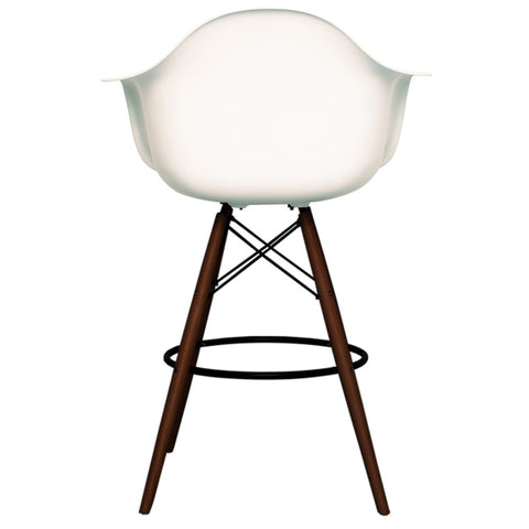 CHARLES EAMES Style White Plastic Retro DAB Walnut Bar Stool - directhomeliving