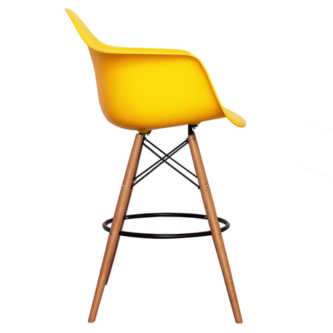 CHARLES EAMES Style Yellow Plastic Retro DAB Bar Stool - directhomeliving