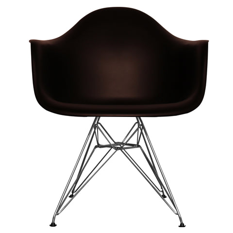 CHARLES EAMES Style Black Plastic Retro DAR Armchair - directhomeliving