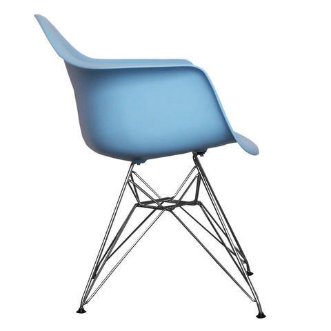 CHARLES EAMES Style Blue Plastic Retro DAR Armchair - directhomeliving