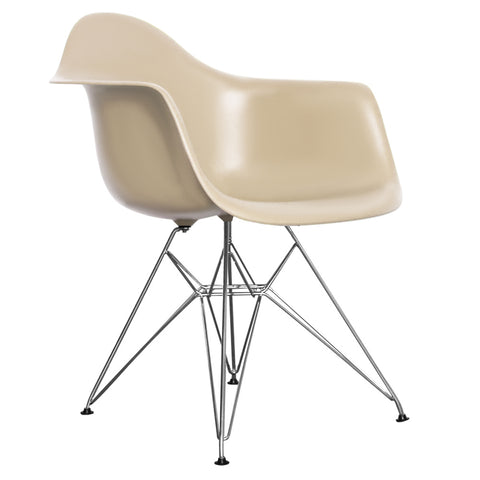 CHARLES EAMES Style Beige Plastic Retro DAR Armchair - directhomeliving