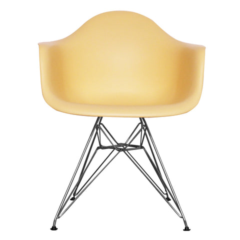 CHARLES EAMES Style Cream Plastic Retro DAR Armchair - directhomeliving