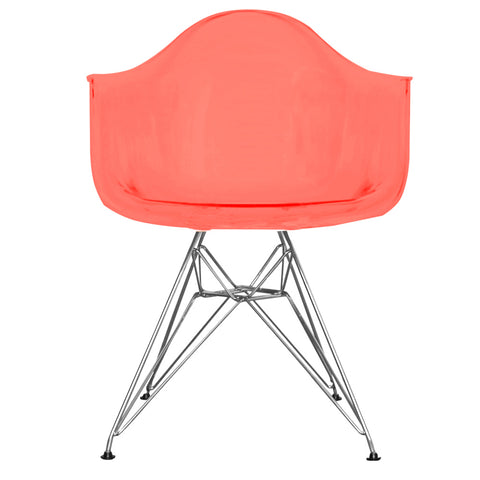 CHARLES EAMES Style Ghost Red Plastic Retro DAR Armchair - directhomeliving