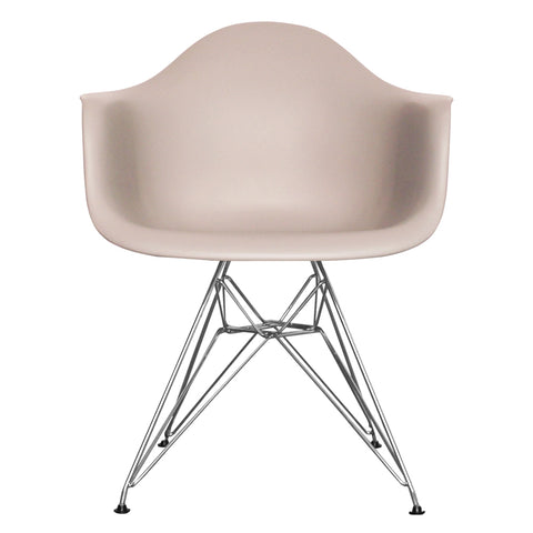 CHARLES EAMES Style Light Grey Plastic Retro DAR Armchair - directhomeliving