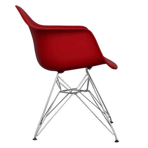 CHARLES EAMES Style Red Plastic Retro DAR Armchair - directhomeliving