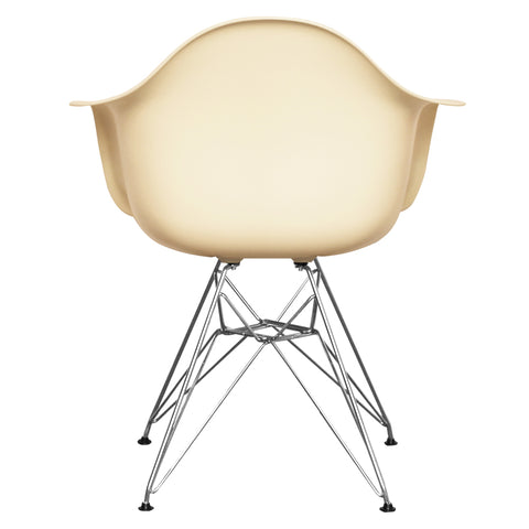 CHARLES EAMES Style Vanilla Plastic Retro DAR Armchair - directhomeliving