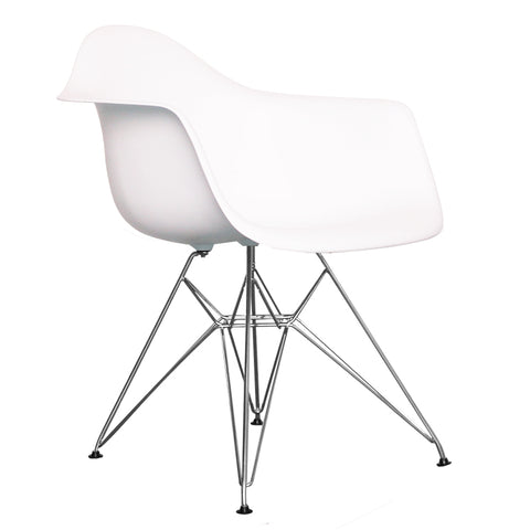 CHARLES EAMES Style White Plastic Retro DAR Armchair - directhomeliving