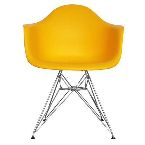 CHARLES EAMES Style Yellow Plastic Retro DAR Armchair - directhomeliving
